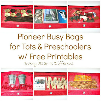 Pioneer Busy Bags for Tots & Preschoolers w/ Free Printables