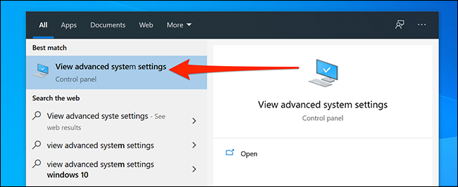 افتح إعدادات نظام Windows المتقدمة