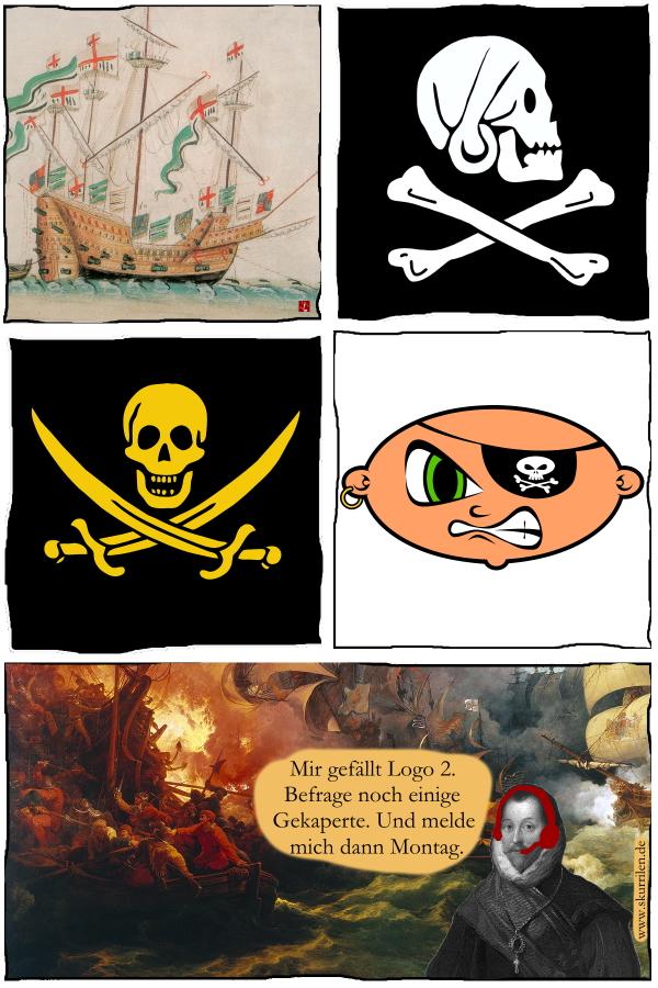 Pirat, Freibeuter, skurril, Headset, Marketing, Werbung, Comic, schräg