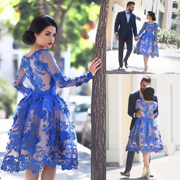 Blue lovely Appliques Tulle Lace Short Homecoming Dress