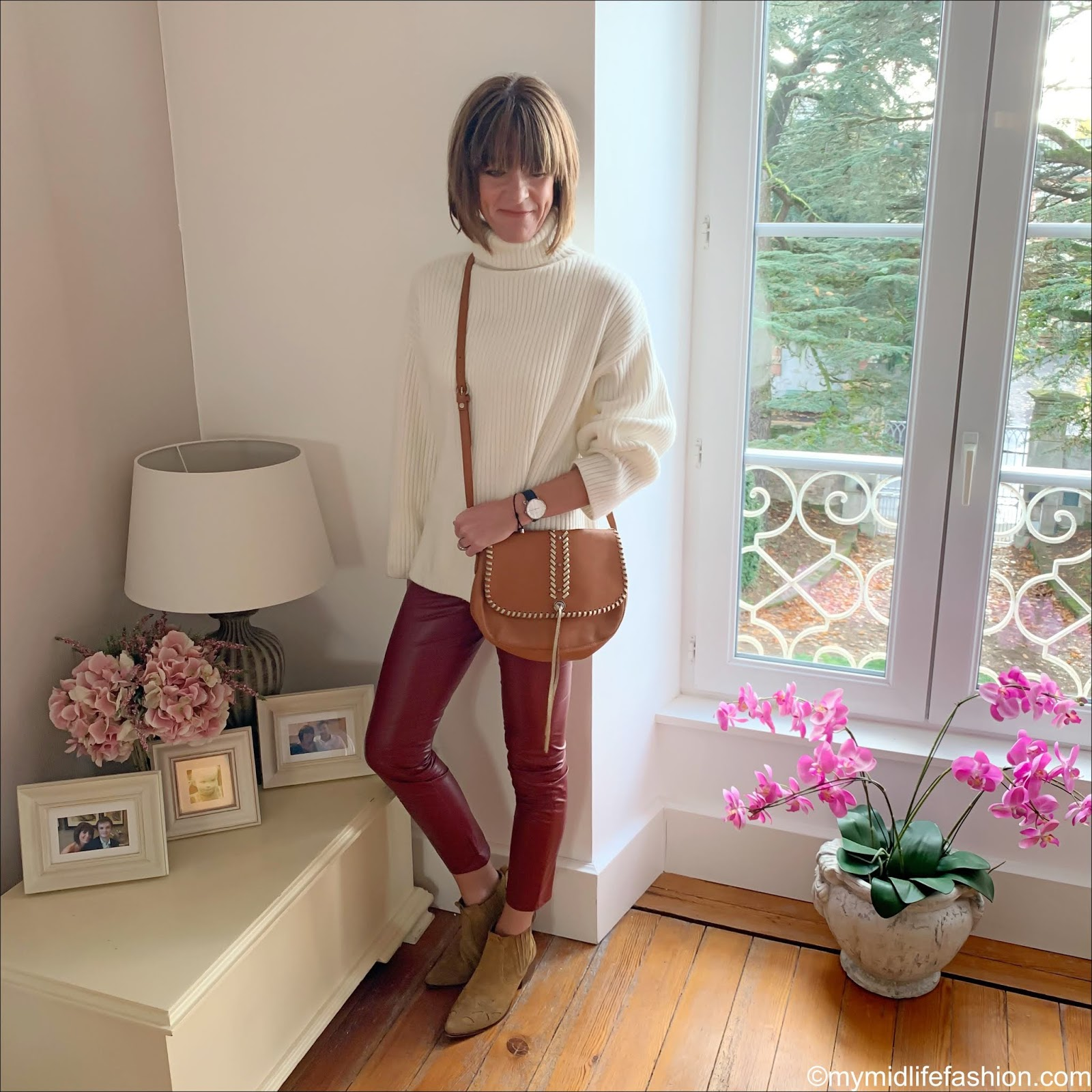 my midlife fashion, h and m rib knit polo neck jumper, Isabel Marant Etoile faux leather trousers, Zara western heel suede ankle boots, black leather cross body bag
