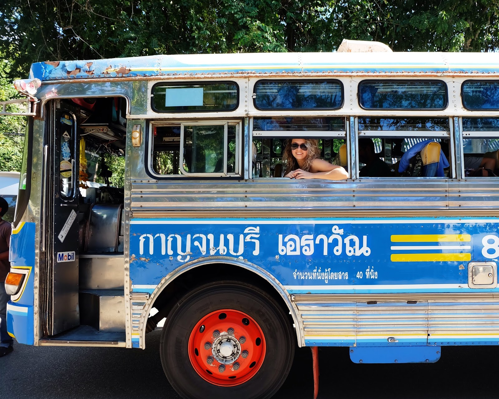 Local bus to Erawan Falls