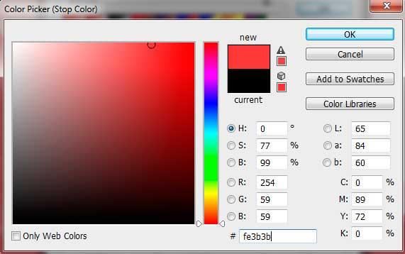 Pada jendela color picker, pilih warna merah.