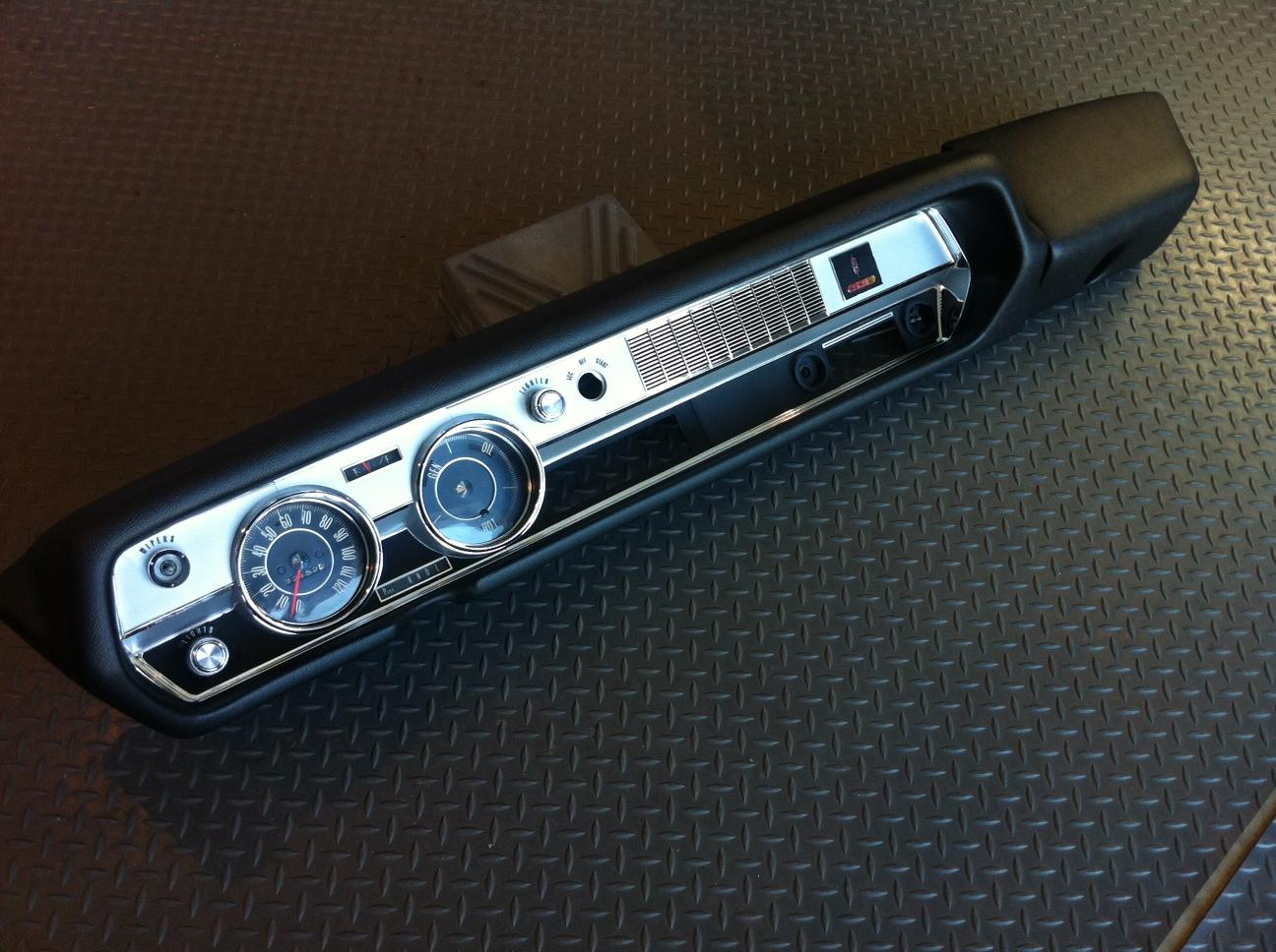 dashes production center  oldsmobile  dash pad gauges  chrome bezel restoration