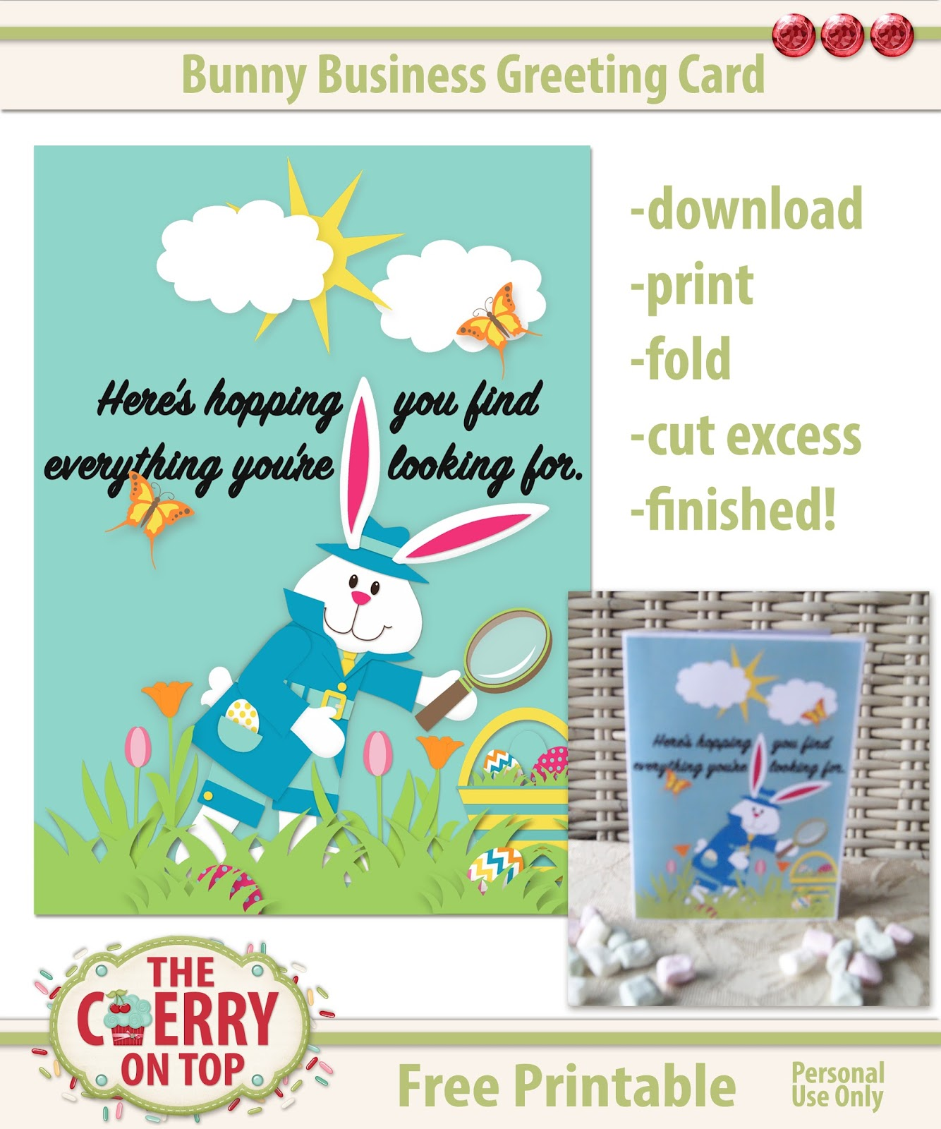 image relating to Printable Easter Card named The Cherry Upon Final: No cost Printable Easter Card In opposition to The
