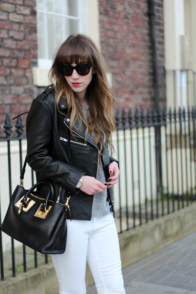 white jeans, leather jacket, chloe boots