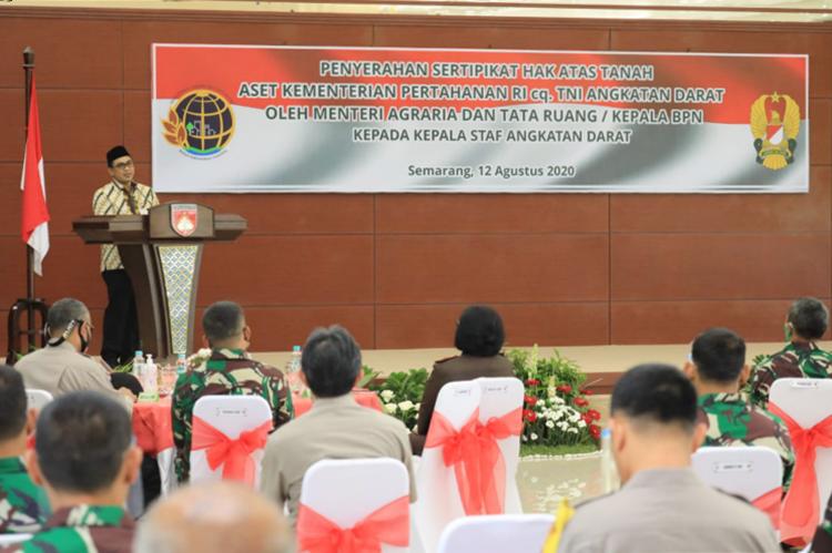Penyerahan Setifikat Urut Sewu, Wagub Jateng : Aset TNI Bisa Dorong Pertumbuhan Ekonomi Daerah