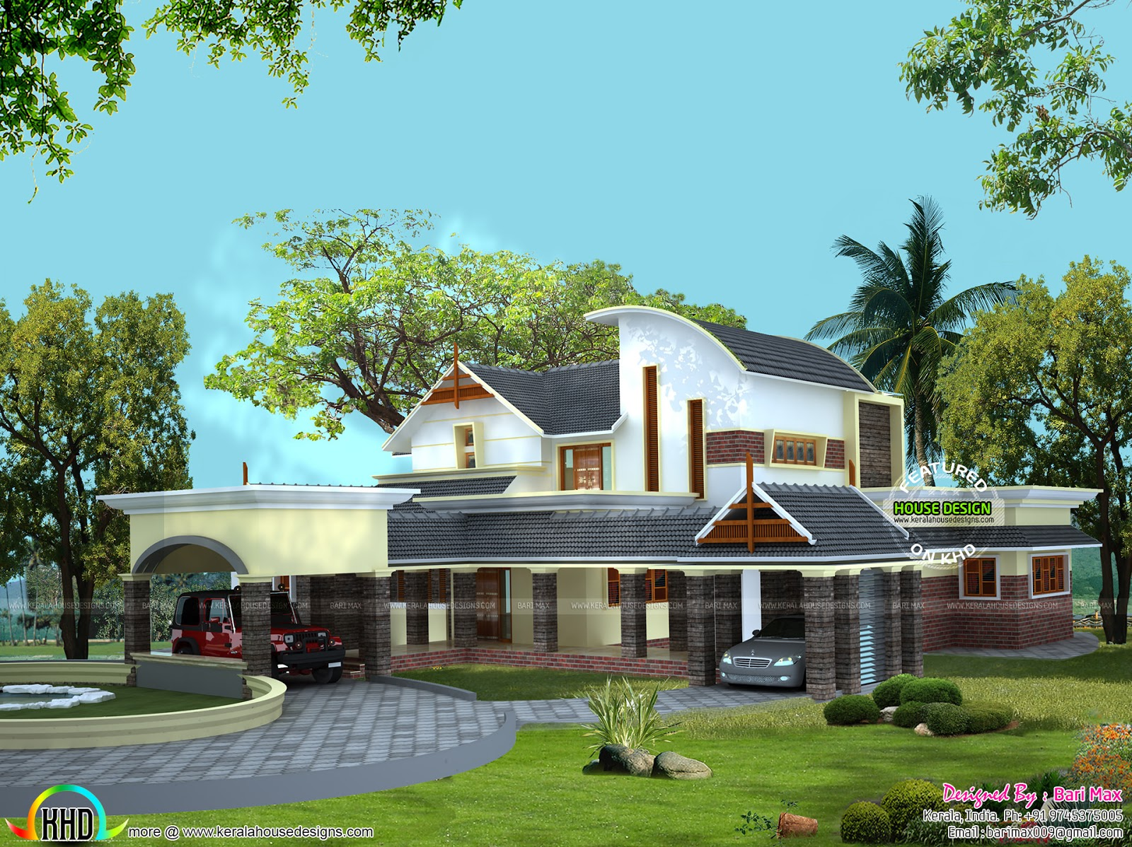 Luxurious home with 2 car porches kerala home design and for Car porch design in kerala