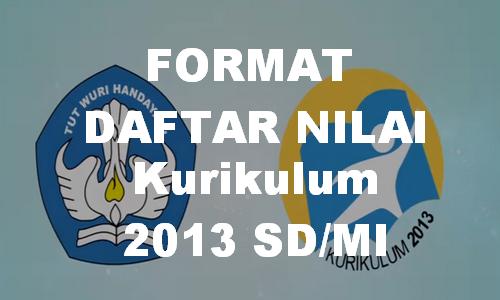 Format Daftar Nilai K13 SD/MI Terbaru