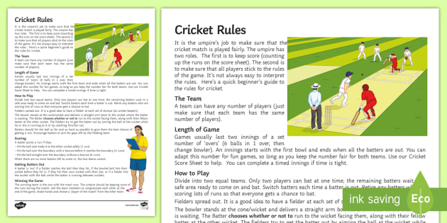 1 For All Sports All About Cricket Rules