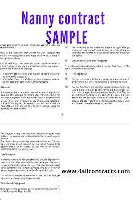 Sample nanny contract uk