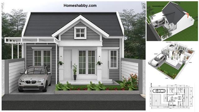 Desain Dan Denah Rumah Ukuran 8 X 12 M 2 Kamar Tidur Dengan Eksterior Vintage Dan Taman Depan Yang Asri Homeshabby Com Design Home Plans Home Decorating And Interior Design
