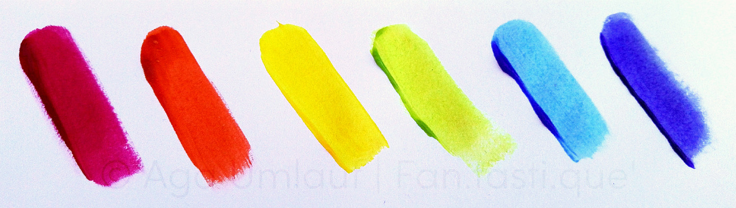 six semi-permanent hair dye swatches on white paper