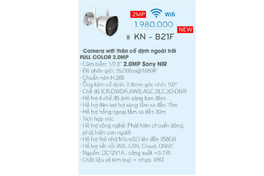 giá camera kbone kn-b21f ngoài trời
