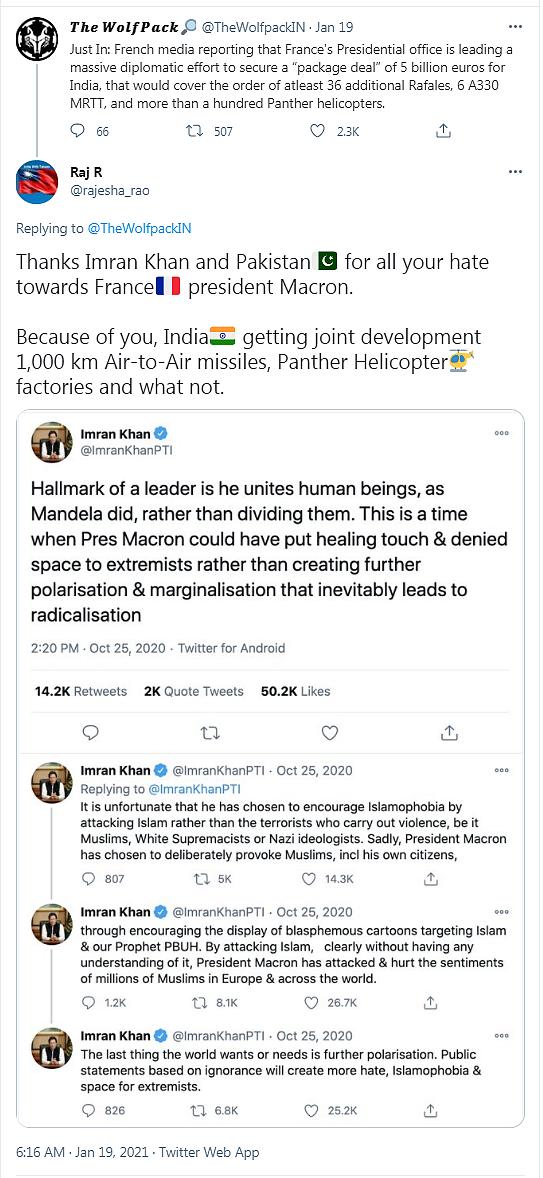 Merci Imran Khan et le Pakistan pour toute votre haine contre le président Macron. Grace à vous, l'Inde obtient un développement conjoint de missiles air-air portant à 1.000 km, des usine de fabrication d'hélicoptères Panther et d'autres choses.