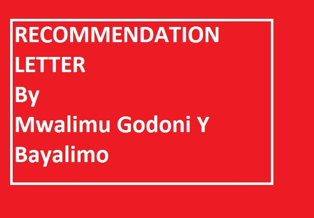 HOW TO WRITE A RECOMMENDATION LETTER by Godoni Y Bayalimo.