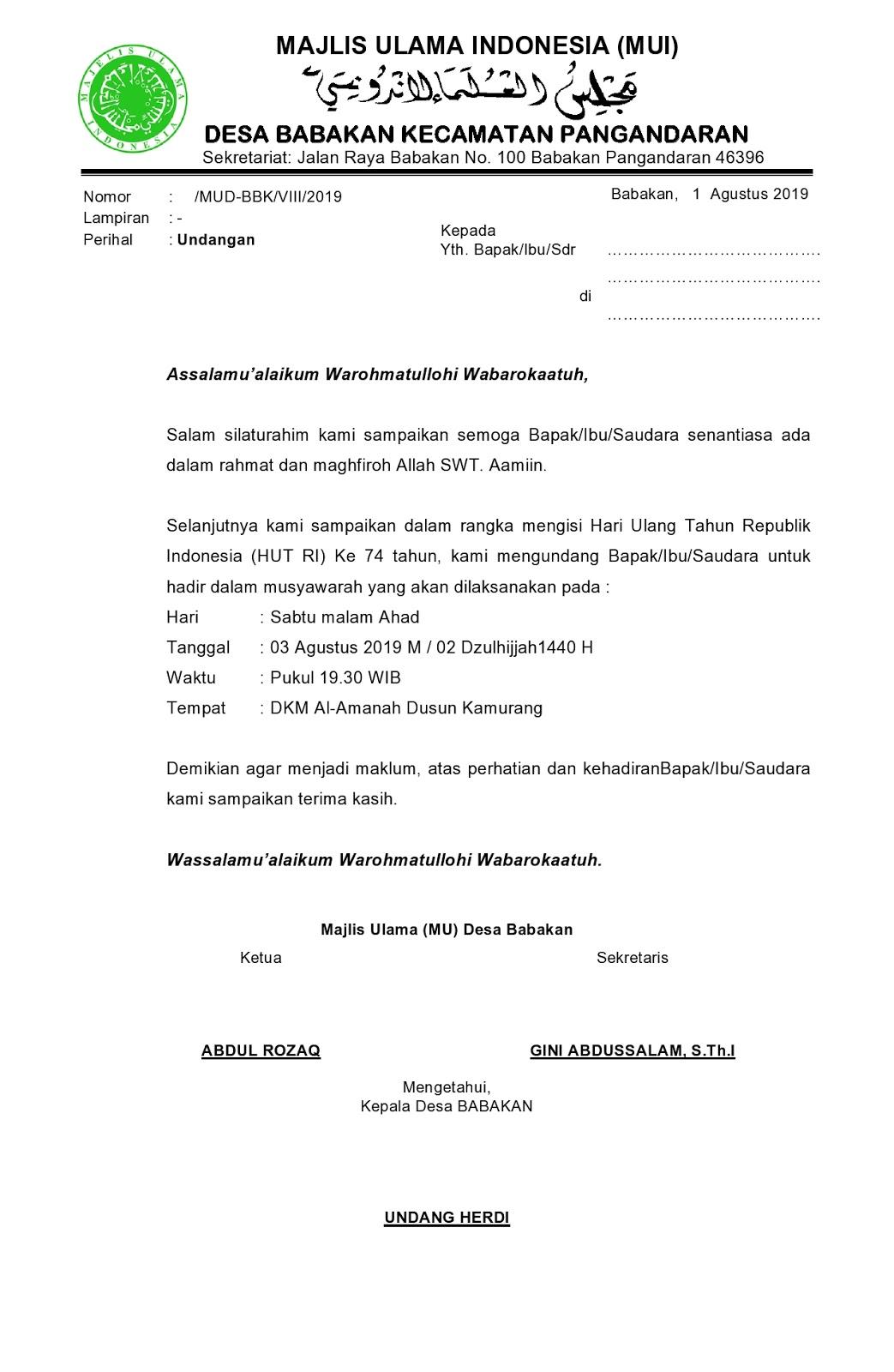 Contoh Surat Undangan Majelis Ulama Indonesia Mui Desa
