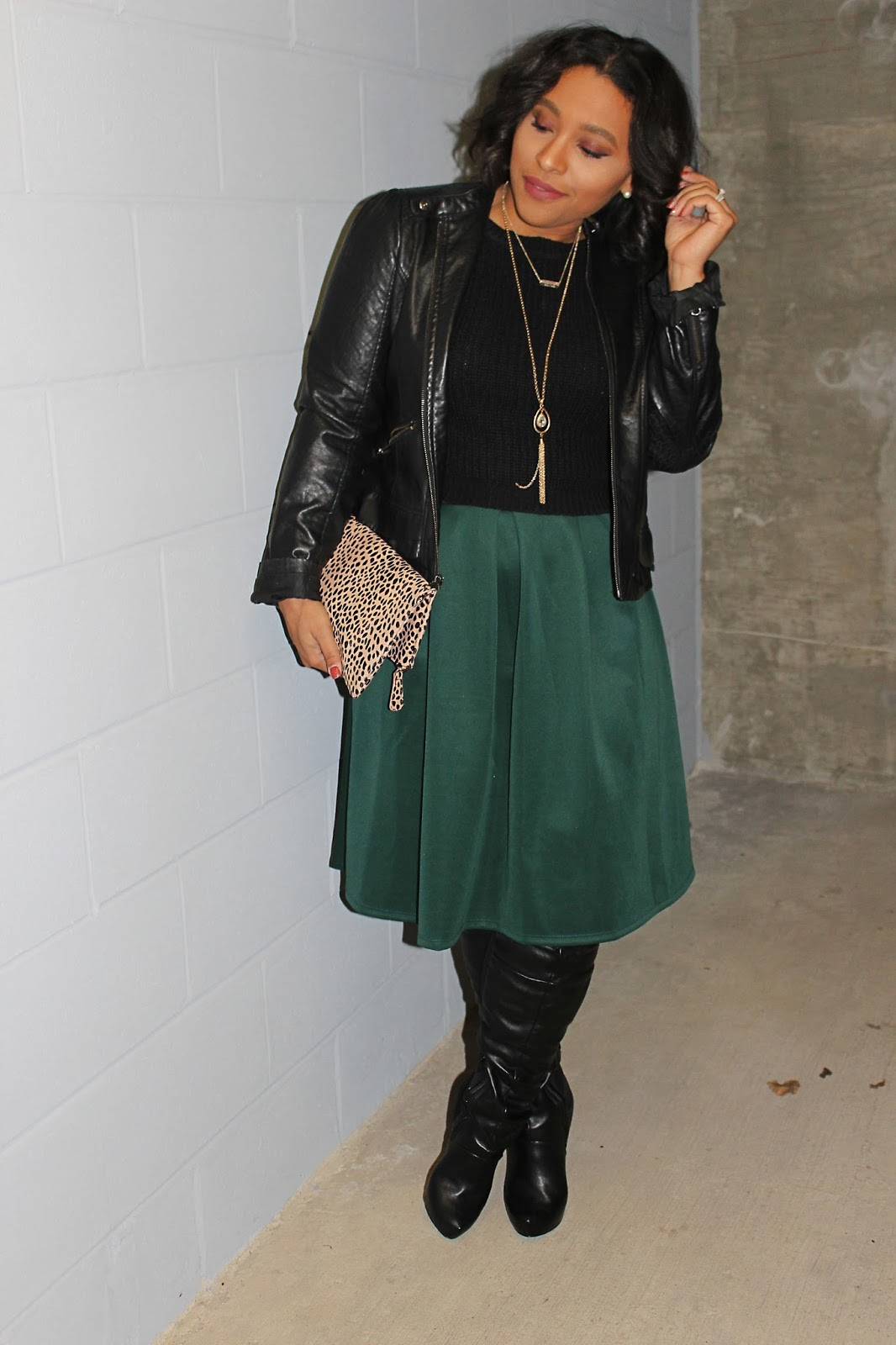 midi skirt, otk boots, midi skirt, edgy look