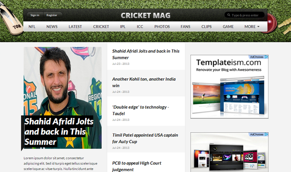 ipl cricket score seo ready blogger template 2014 for blogger or blogspot,download free ipl cricket score template 2014,3 column cricket match blogspot template 2014 2015,white green good looking blogger template 2014,seo ready cricket blogger template 2014