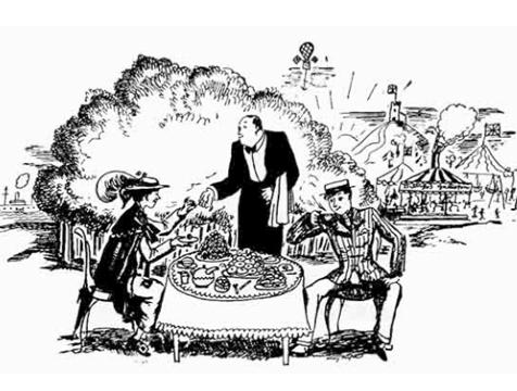 Mary Poppins merendando con Bert, ilustración de Mary Shepard - Cine de Escritor