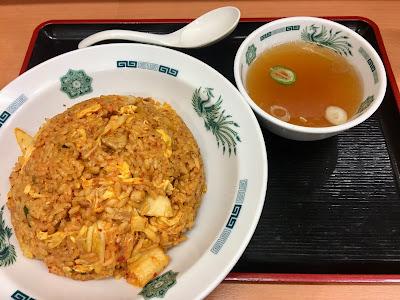 キムチチャーハン大盛りとスープ