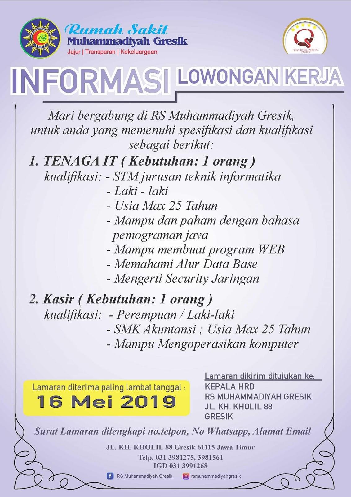 Lowongan Kerja Rs Muhammadiyah Gresik 2020 Jl Kh Kholil Lowongankerjacareer Com