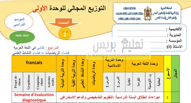 التوزيع المجالي للوحدة الأولى للمستوى الأول ابتدائي موسم 2019-2020