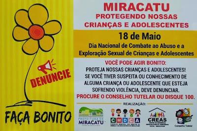 18 DE MAIO - DIA NACIONAL DE COMBATE AO ABUSO E EXPLORAÇÃO SEXUAL DE CRIANÇAS E ADOLESCENTES