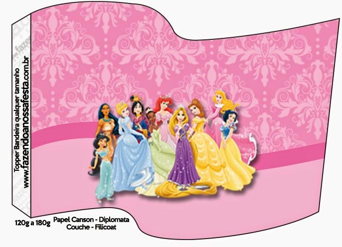 Banderitas o toppers de Princesas Disney para cupcakes o para poner en la comida.