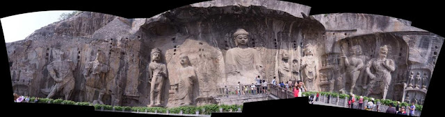 Panorama photo of Longmen Grottoes or Dragon Gate Grottoes stitch from seven images