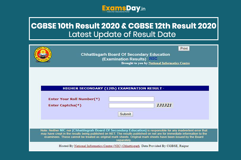 CGBSE 10th Result 2020 CGBSE 12th Result 2020