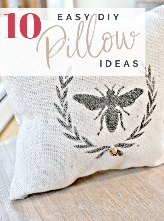 bee in a wreath pillow with Pinterest overlay