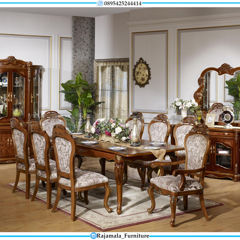 Meja Makan Mewah Jati Natural Classic Luxury Furniture Jepara RM-0128