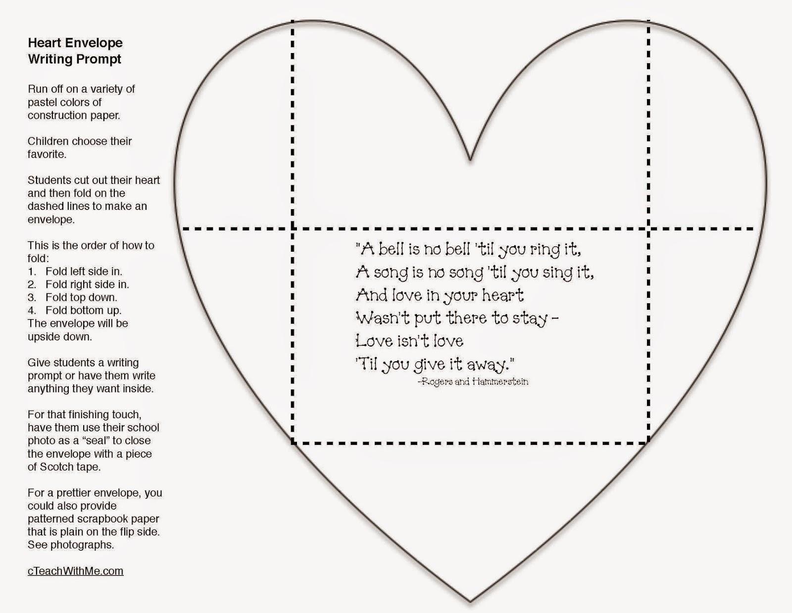 Classroom Freebies Valentine Writing Prompt Craftivity