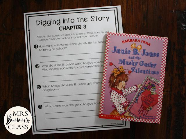 Junie B Jones and the Mushy Gushy Valentine book study literacy unit with Common Core aligned companion activities 1-2