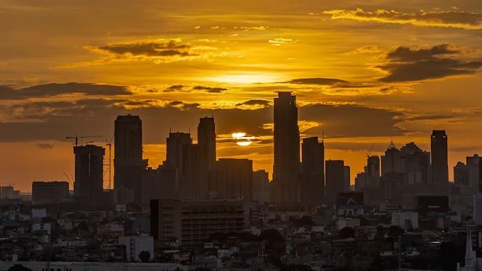 Papel de Parede Fundo Pôr do Sol na Cidade