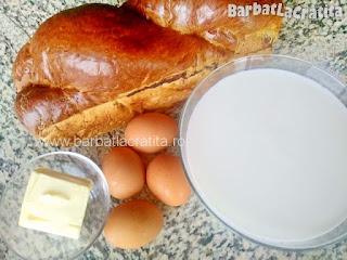 ingrediente reteta budinca - cozonac, lapte, oua si unt