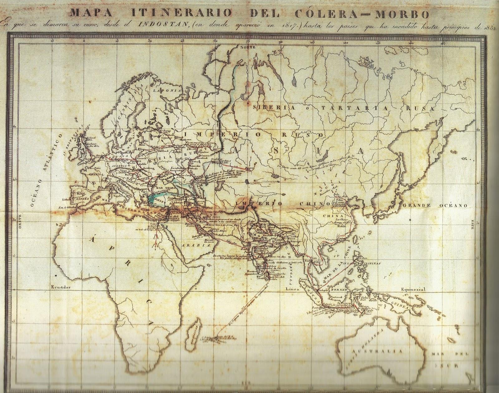 Mapa mundial de la invasió colèrica des del 1817 fins al 1832