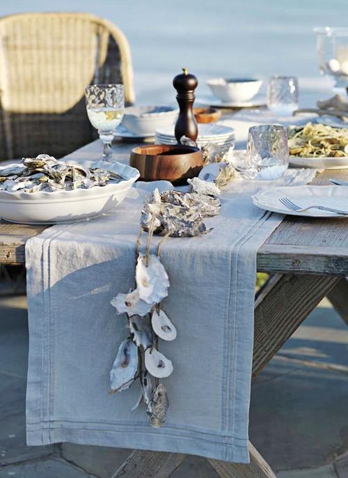 Oyster Shell Garland Table Decor Idea