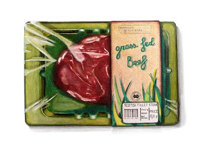 """barquette verte """"grass fed beef"""" ( boeuf nourrit à l'herbe)"""