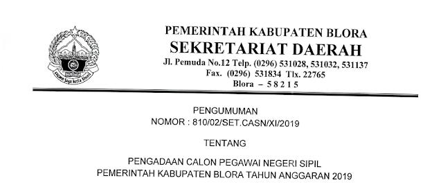 Formasi CPNS Kabupaten Blora 2019