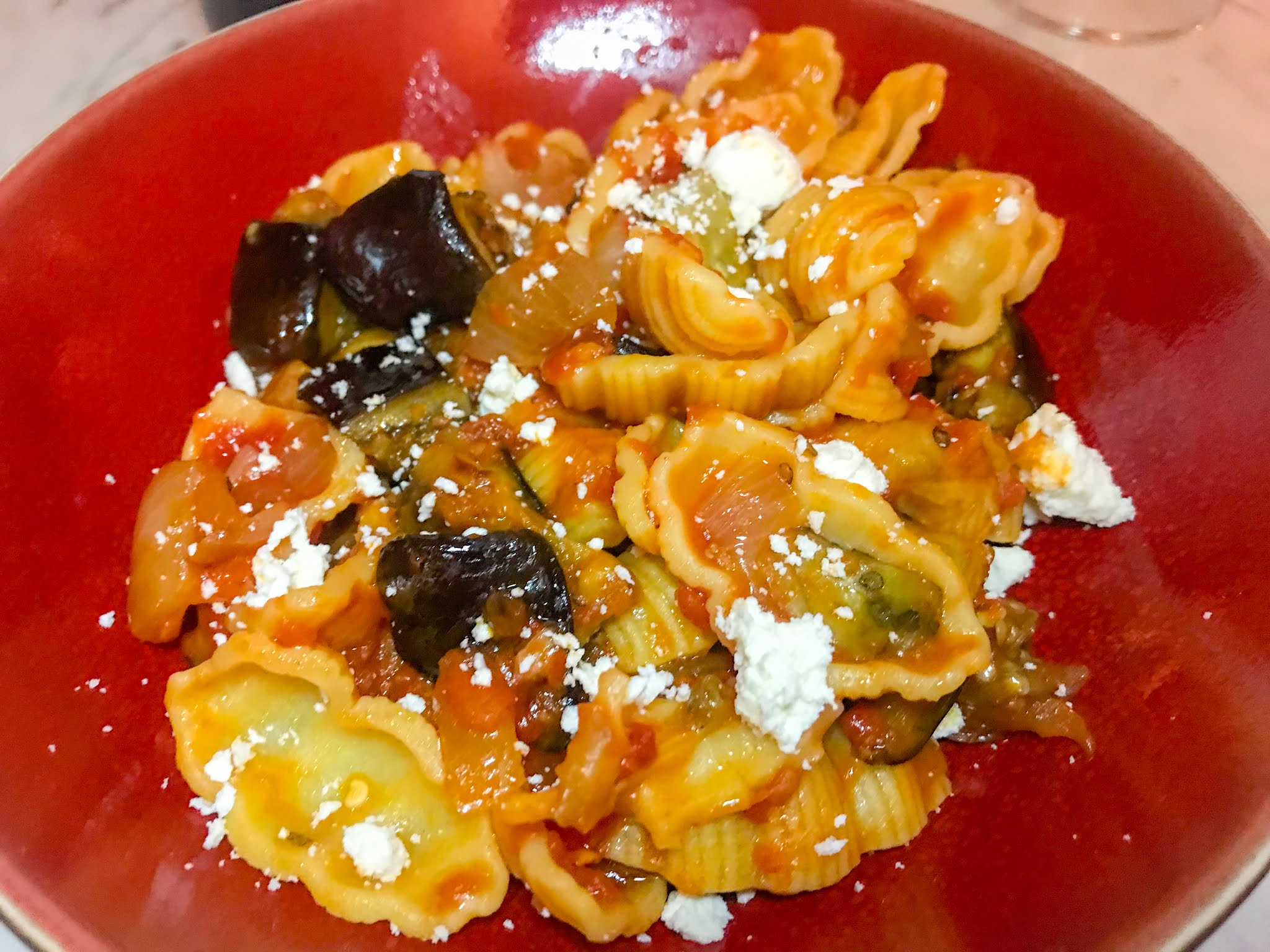 Pasta with Eggplant, Tomatoes, and 'Ndjua