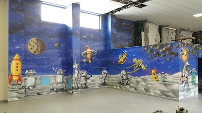 Malowanie scian w sali zabaw, aranżacja bawialni, malowanie obrazów 3D na ścianie w bawialni, artystyczne malowanie ścian