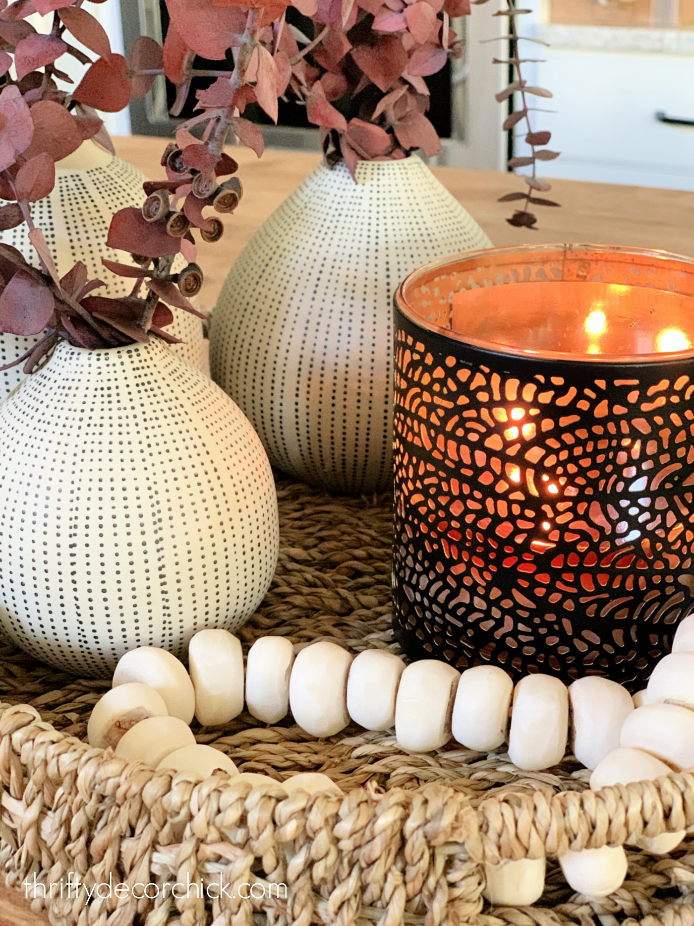 fall decor candle in basket tray