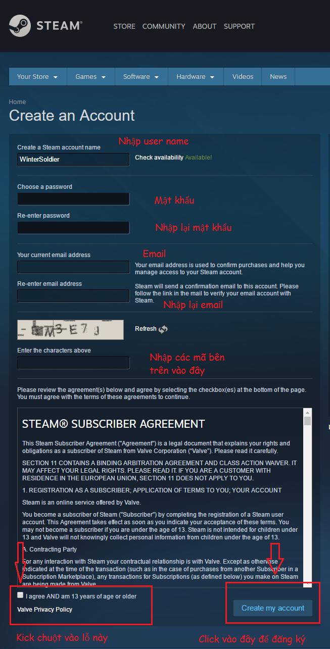 Hướng dẫn lập tài khoản Steam và CS.