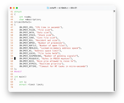 Screen shot of rlimit.c