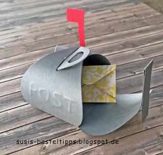 US Mailbox mit Mini Zierschachtel Stanze von Stampin' Up!  Curvy Keepsake verpackung mitbringsel postkasten von demonstratorin in coburg