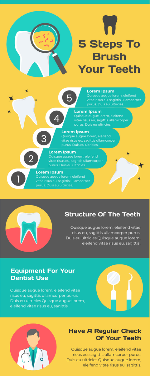5 Steps To Brush Your Teeth #infographic #Health #infographics #Brushing #Teeth