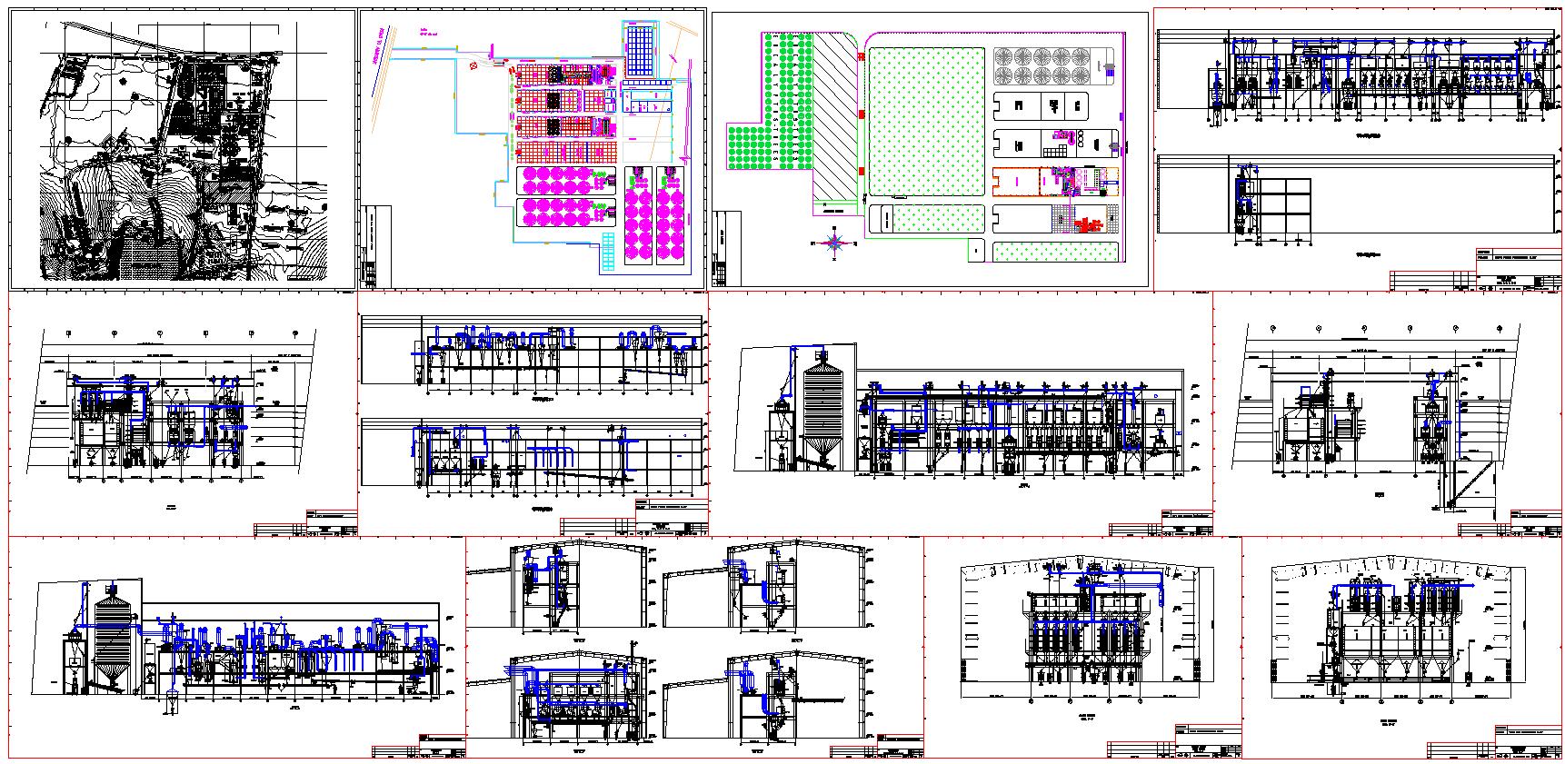Grain mill plant designs [DWG, PDF]