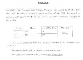 Telangana State Eligibility Test (TS-SET) Lecturers Assistant Professors Examination Notification-2019 Apply Online